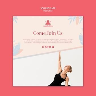 Aulas de meditação quadrado flyer com foto de mulher exercitando