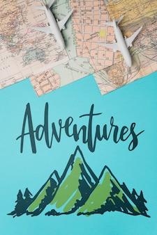Aventuras, citação de letras motivacionais para férias viajando conceito