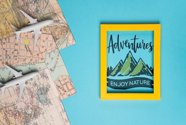 Aventuras desfrutar da natureza, citação de letras motivacionais para férias viajando conceito