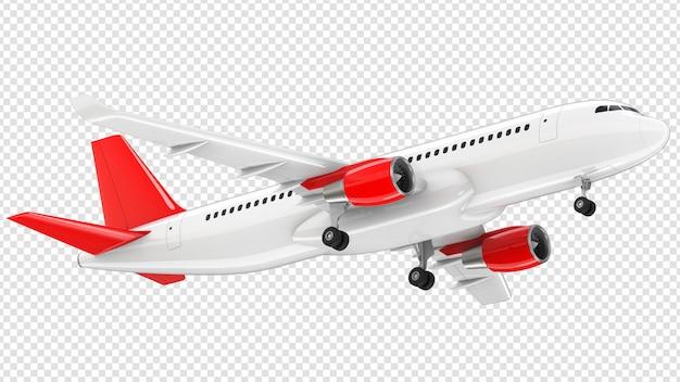 Avião com cauda vermelha decolando