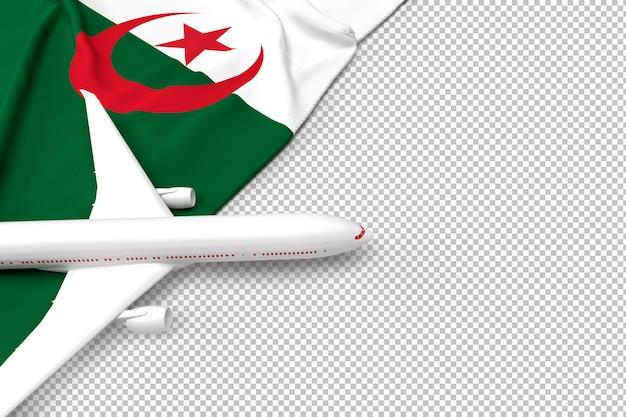 Avião de passageiros e bandeira da argélia