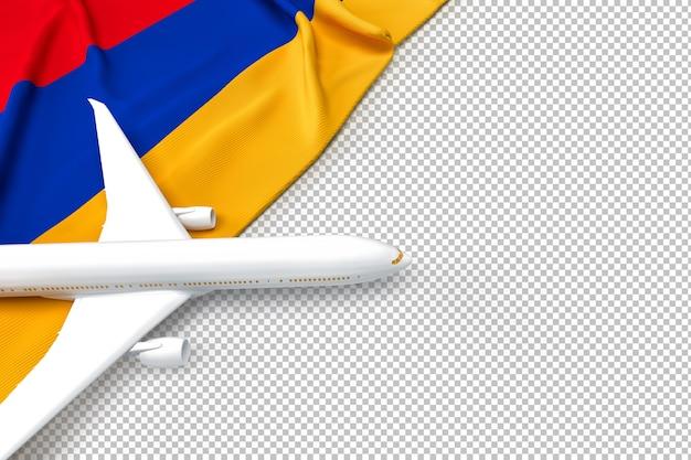 Avião de passageiros e bandeira da armênia