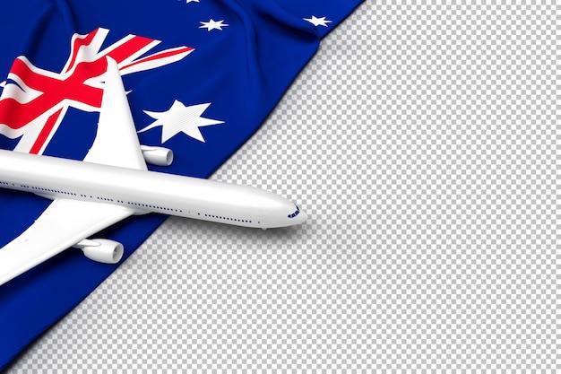 Avião de passageiros e bandeira da austrália