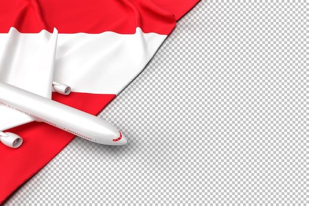 Avião de passageiros e bandeira da áustria