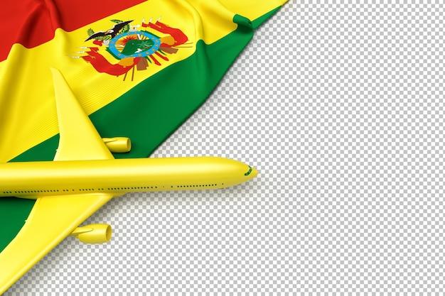 Avião de passageiros e bandeira da bolívia