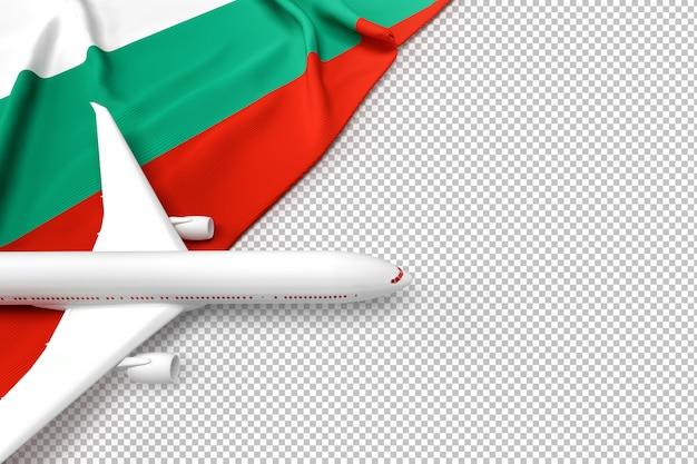 Avião de passageiros e bandeira da bulgária