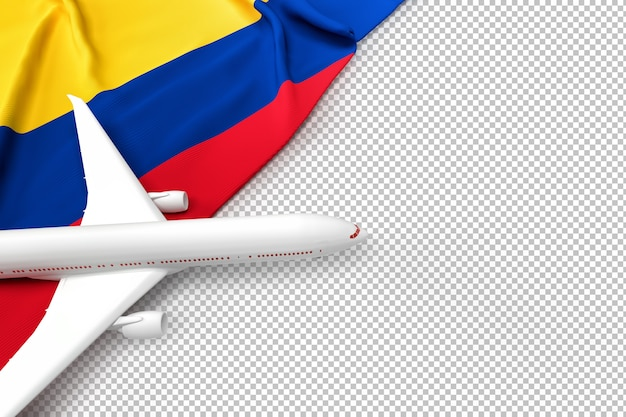Avião de passageiros e bandeira da colômbia