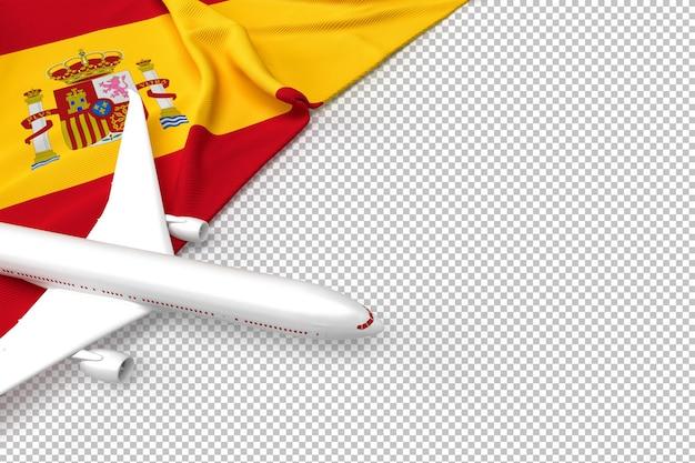 Avião de passageiros e bandeira da espanha