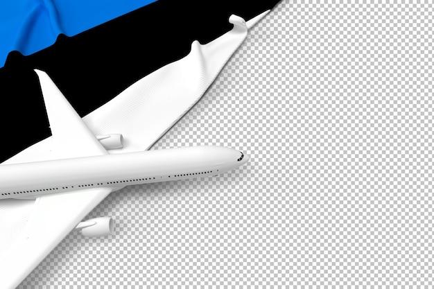 Avião de passageiros e bandeira da estônia