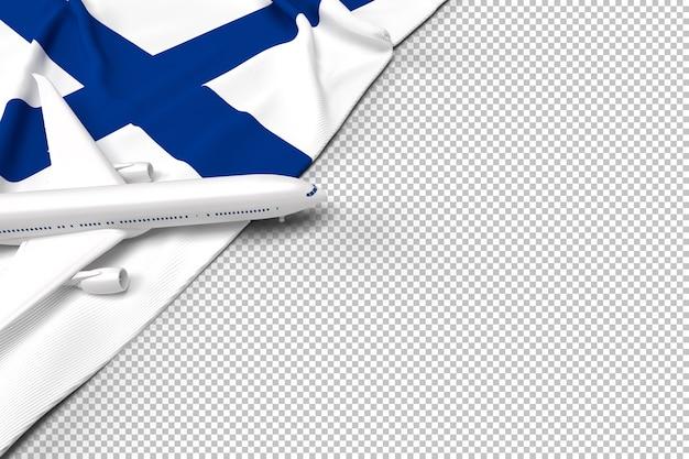Avião de passageiros e bandeira da finlândia