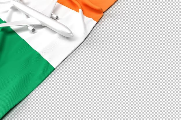 Avião de passageiros e bandeira da irlanda