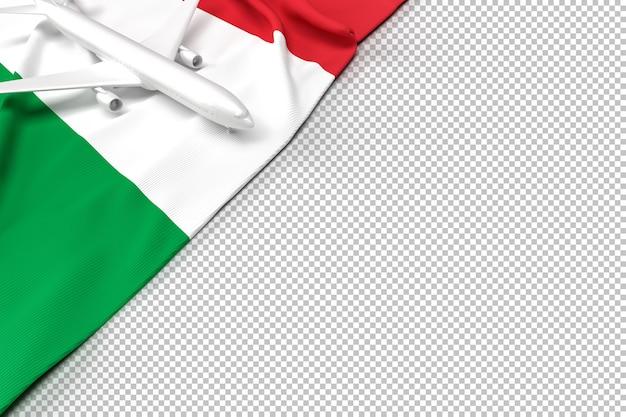 Avião de passageiros e bandeira da itália