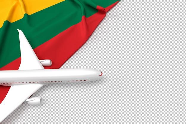 Avião de passageiros e bandeira da lituânia