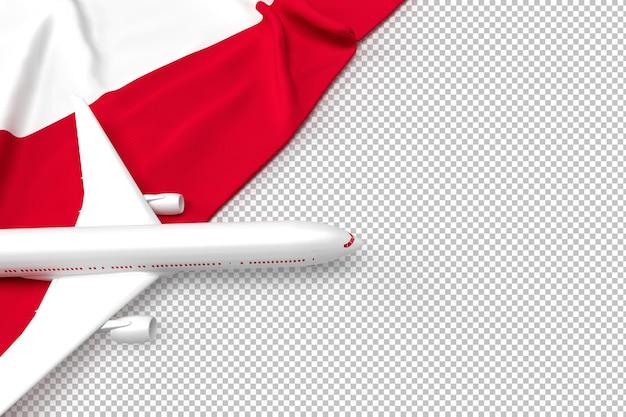 Avião de passageiros e bandeira da polônia