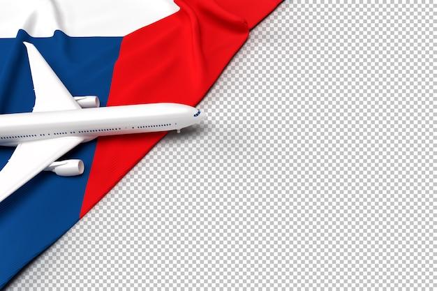 Avião de passageiros e bandeira da república tcheca