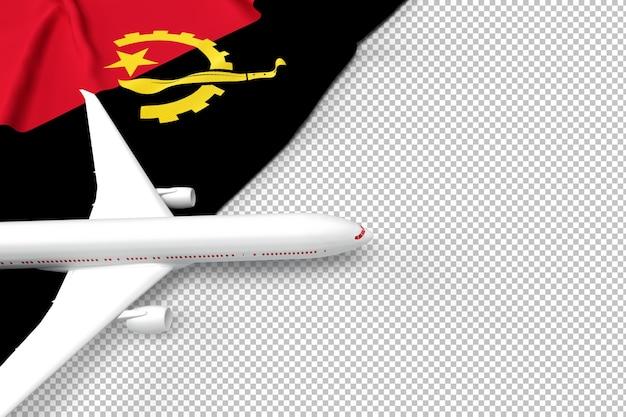 Avião de passageiros e bandeira de angola