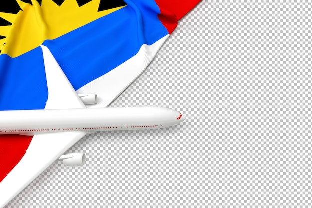 Avião de passageiros e bandeira de antígua e barbuda