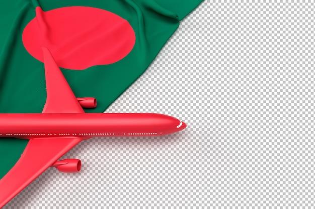 Avião de passageiros e bandeira de bangladesh