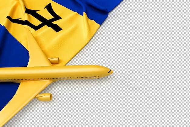 Avião de passageiros e bandeira de barbados