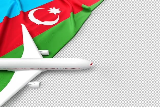 Avião de passageiros e bandeira do azerbaijão
