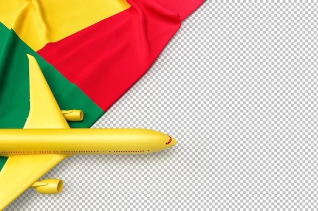 Avião de passageiros e bandeira do benin