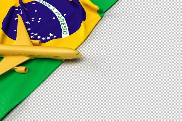 Avião de passageiros e bandeira do brasil