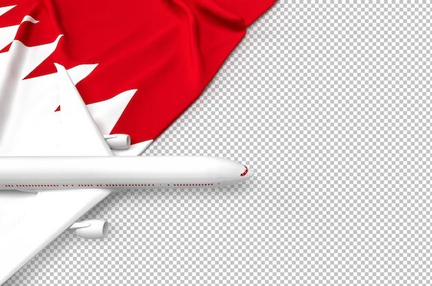 Avião de passageiros e bandeira do qatar
