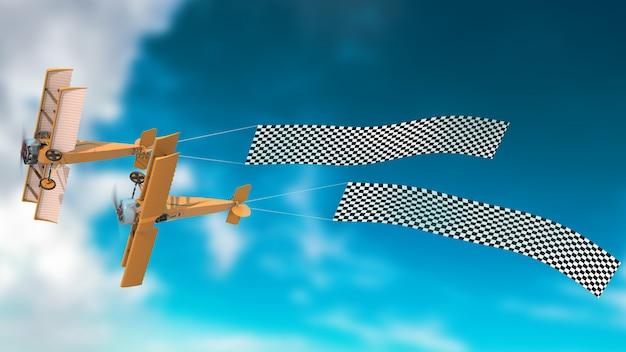 Avião paralelo com banner psd mockup