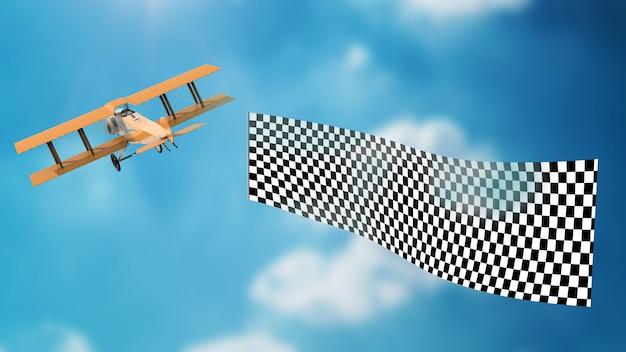 Avião que se afasta com maquete de banner psd
