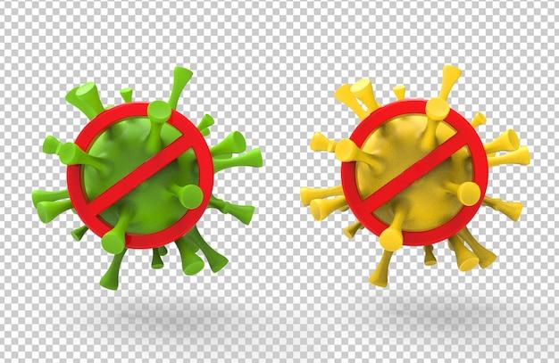 Aviso de renderização 3d do vírus corona com sinais vermelhos