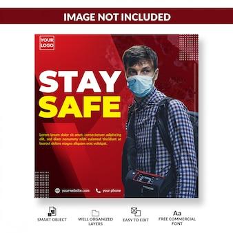 Aviso de vírus mídia social quadrado panfleto coronavírus