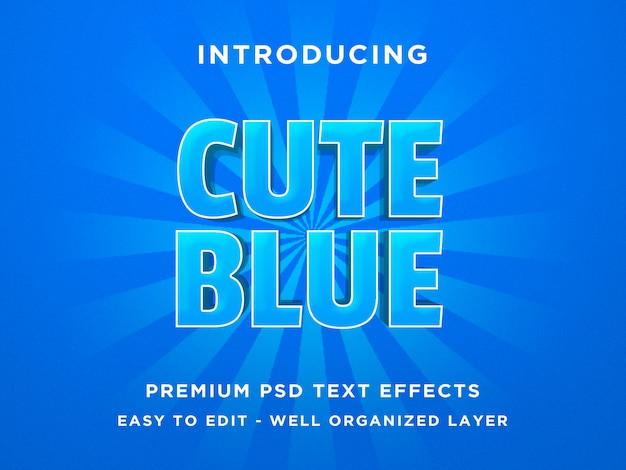 Azul bonito - efeito de fonte de estilo de texto 3d modelos psd
