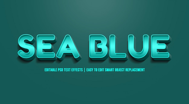 Azul do mar - efeito de texto premium psd