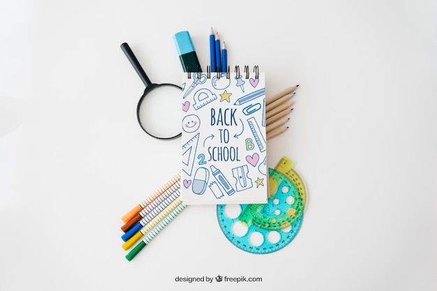 Back to school composition mockup