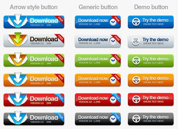 Baixar e experimentar botões arredondados de demonstração para web design