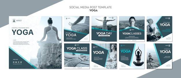 Balance sua vida post de mídia social de aula de ioga