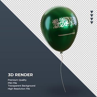 Balão 3d bandeira da arábia saudita com folha realista renderização vista esquerda