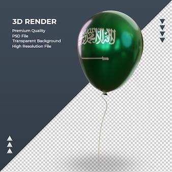 Balão 3d bandeira da arábia saudita com folha realista renderizando vista direita
