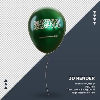 Balão 3d bandeira da arábia saudita com vista frontal de renderização de folha de alumínio realista