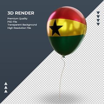 Balão 3d bandeira de gana com folha realista renderizando vista direita