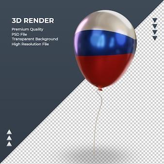 Balão 3d bandeira russa folha realista renderizando vista direita