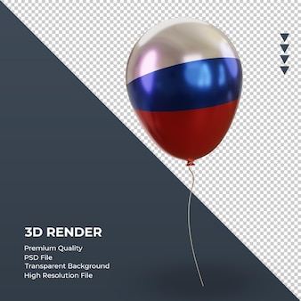 Balão 3d bandeira russa folha realista renderizando vista esquerda