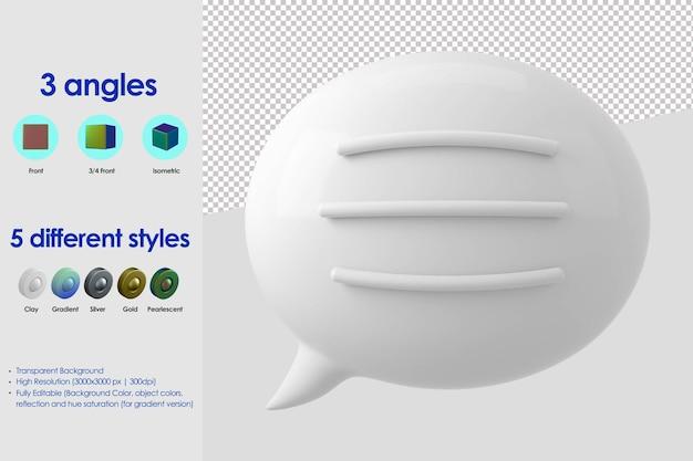 Balão 3d com ícone de linhas de texto