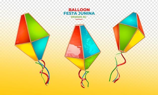 Balão 3d render festa junina brasil