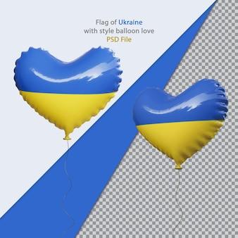 Balão amor bandeira nacional da ucrânia realista