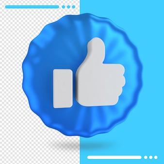 Balão azul com logotipo do facebook como em renderização 3d
