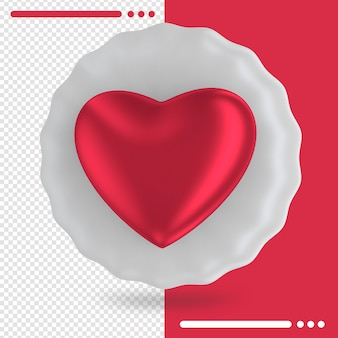 Balão branco com formato de coração em renderização 3d