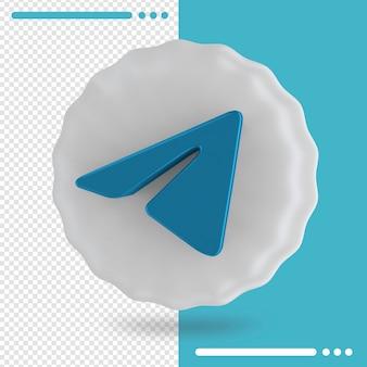 Balão branco e logotipo da renderização 3d do telegram