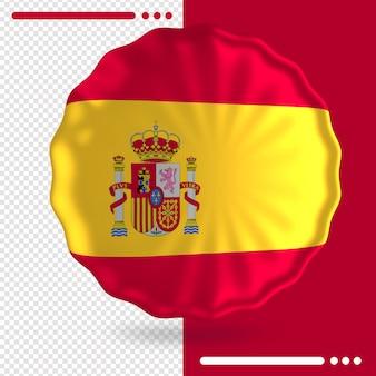 Balão com a bandeira da espanha em renderização 3d