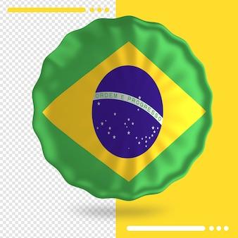 Balão com a bandeira do brasil em renderização 3d